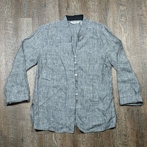 Linen Orvis Hounds tooth Button up Top